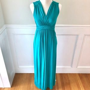 CABLE & GAUGE Grecian Teal V Neck Maxi Dress XS